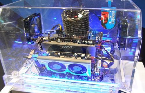 To prove that the technology and board is more than ready for the market, MSI was demonstrating a system configured with the 870A Fuzion along with two MSI graphics cards, using a NVIDIA GT250 and an ATI Radeon 5770.