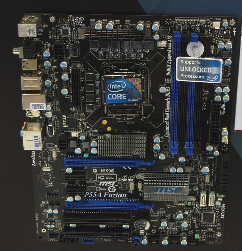 MSI was a bit slower to get into the 3rd party controllers for USB 3.0 and SATA 6Gbps, which meant that the Big Bang Fuzion lacked these, the company has rectified the situation with the P55A Fuzion. This is an Intel P55 Express motherboard with SATA 6Gbps and USB 3.0. It also comes with advanced enthusiast features like V-Check Points for measuring voltage.