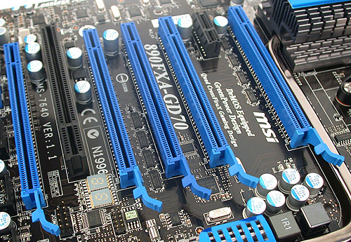 If CrossFireX is your obsession, then this MSI board with its four PCIe 2.0 x16 slots will be perfect for you (one of these blue slots is only a PCIe x4). When quad CrossFireX is enabled, all the slots run at a very competent x8 configuration each and best of all, you can fit dual-slot graphics cards for all. Of course, this means giving up operating the PCI and PCIe x1 slots.