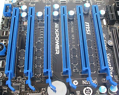 MSI has one fewer PCIe 2.0 x16 slots than Gigabyte and more critically, there's no way to install four dual-slot graphics cards, as there's not sufficient space between them. Single slot cards are fine however and the MSI can do 4-way SLI/CrossFireX. Hence the best you can outfit this board is three dual-slot graphics cards.