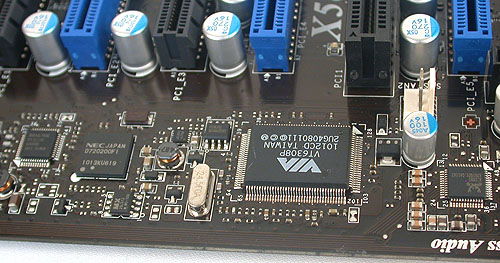 The typical onboard controllers that are found on many of today's motherboards. From audio to Ethernet to FireWire and of course now, the NEC USB 3.0 controller that's apparently the only option for USB 3.0 support.