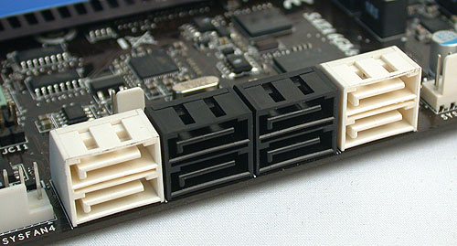 The white SATA ports here are SATA 6Gbps while the black ones are SATA 3Gbps. However, unless you have the manual, it's not clearly marked which SATA 6Gbps ports are from the Intel P67 chipset and which ones are from the additional Marvell controller. Ans: the rightmost pair of white ones are from Intel.