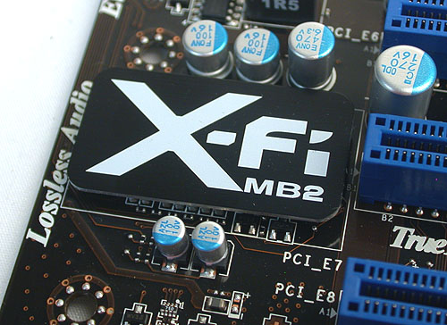 In case you're confused, the Creative X-Fi MB2 here is a software package that enables Creative's unique audio features like EAX on this board. The hardware underneath however is a Realtek ALC892.