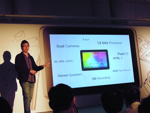 The key selling points of the HTC Flyer on one slide, and there's more to add: the lightweight tablet weighs only 420g and measures a mere 13.2mm in thickness.