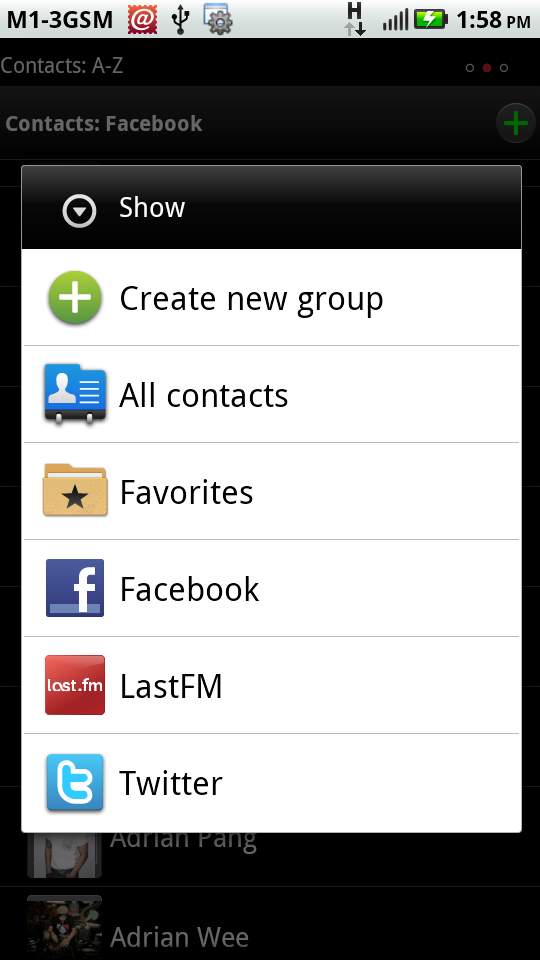 You can choose to display certain groups of contacts under your miscellaneous synced accounts or all of them.