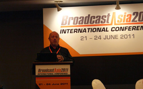 """At the International Conference, Mr Mark Wilson-Dunn, VP for BT Media and Broadcast, gave us a pep talk on why evolving business models for content delivery is essential in the changing broadcast landscape. He also added that we don't necessarily pay for items in the strict traditional sense these days. For example, you may obtain a mobile phone for """"free"""" but you are actually paying the telco a premium via your monthly subscriptions instead."""