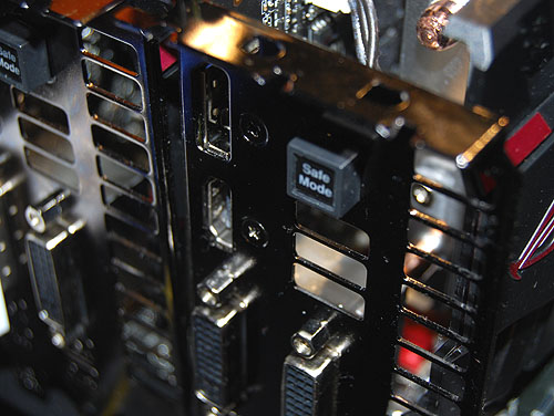 The Safe Mode button here on the Matrix GTX 580 is a fail-safe for those who like to tweak their clocks and voltages.