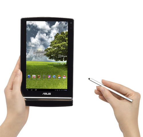 The stylus is hidden in the silver bezel near the bottom of the tablet when not in use.