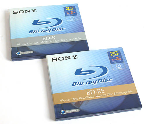 The pieces of BD media that Sony sent along with its drive. According to Sony, a 25GB BD-R (write once) disc will cost around S$33 while the rewritable BD-RE will be S$41. The dual layer 50GB Blu-ray disc media however will cost S$79.