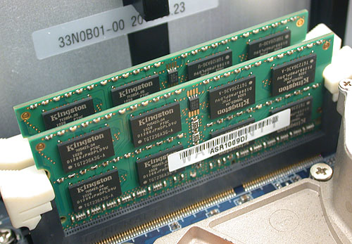 Two sticks of DDR3 1066 SODIMM memory from Kingston for a total of 4GB. 8GB is the maximum supported.