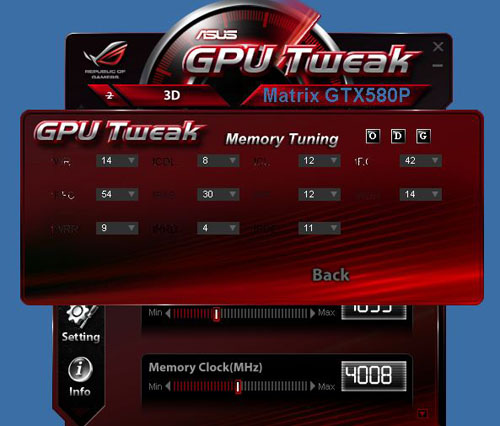 One advantage of GPU Tweak that ASUS is touting over rival tuning utilities is the added option to change the memory timings on the graphics card. In our experience, memory timing options bring little benefit these days, but that's what the ROG product is all about - pushing the capabilities to the max.