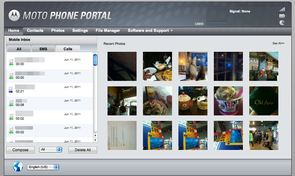 The interface for the Moto Phone Portal allows for a quick glance at your phone's content.