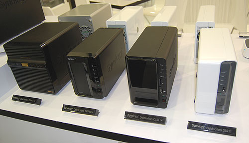 Some of the popular NAS models from Synology for the home and small office users. They are usually 2-bay or 4-bay models with a processor speed between 1.6GHz and 1.8GHz.