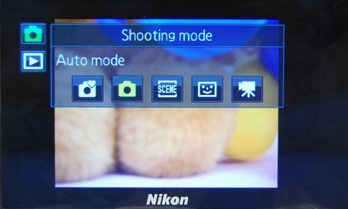 On tapping on the top green icon, users will get to take their pick from these basic modes of shooting: Easy auto, Auto, Scene, Smart portrait, and Movie.