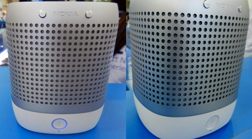 "The speaker (left) with a blue outline on the Bluetooth button is the ""Master"" while the speaker (right) is the ""Slave"". What this means is that you can only tap the N9 on the ""Master"" speaker to change music tracks."