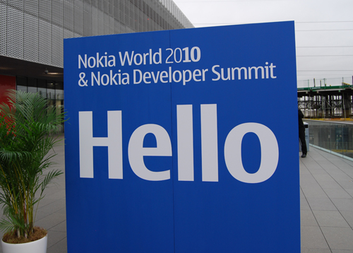 While Nokia World greets us with a big hello, you won't be seeing any Hello World from any Meego devices just yet.