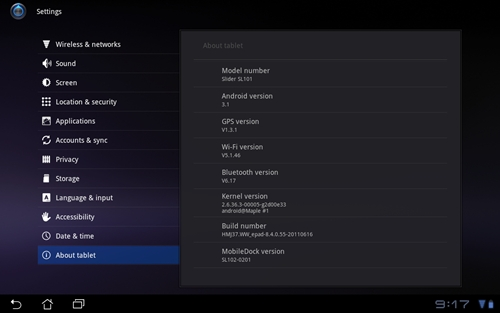 The ASUS Eee Pad Slider currently runs on Android 3.1, which can be upgraded to Android 3.2.