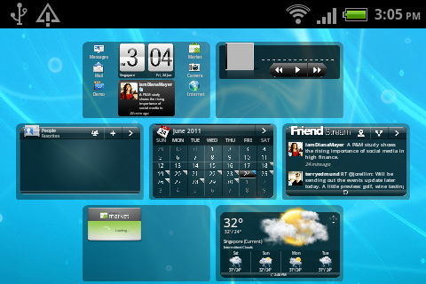 HTC Sense 2.1 for Messenger still retains the familiar overview feature where you can see all seven home screen panels.
