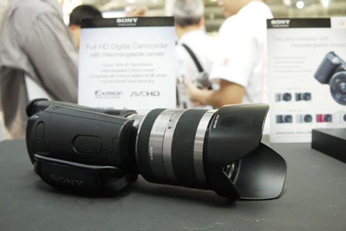 A mock-up of the new interchangeable lens camcorder was on display.