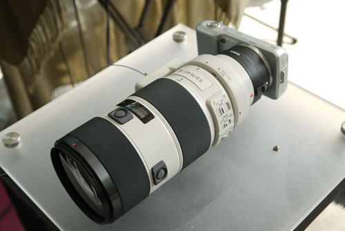 An NEX-5 with a Sony Alpha 70-200mm lens and E-mount adapter.