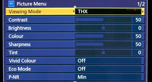 Should the TV's display appear less satisfactory, you can always fall back on the THX preset when in doubt. The default THX parameters are shown in this screenshot.