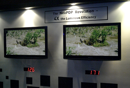 Panasonic was demonstrating the power-reduction prowess of their improved NeoPDP panels. Most of them managed to clock an average power rating of less than 200 watts based on what's shown here.