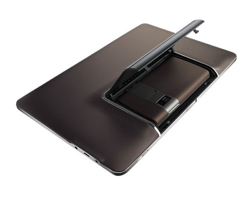 This is the ASUS press image of the Padfone showing the compartment where the smartphone is nestled inside its tablet 'shell'.