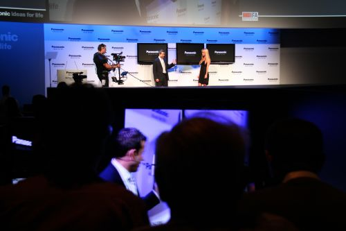 Panasonic's Press Day conference had journalists grouped into teams to experience 3D content during various parts of the conference.