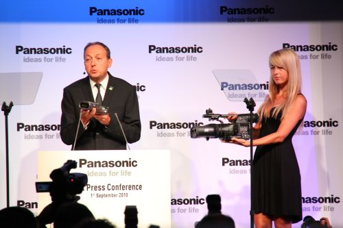 Continuing the company's move into creating a 3D content generation ecosystem, Panasonic showed the audience its two 3D-capable Full HD camcorders, announced some time back.