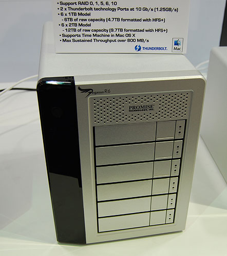 This 6-bay Pegasus RAID enclosure supports up to six SATA 7200RPM HDD. But we noticed it because it's one of the first products we have seen that support Intel's ThunderBolt technology (2 ports available). Naturally, it's compatible with Mac OS X and Time Machine, since only Apple has implemented ThunderBolt so far.