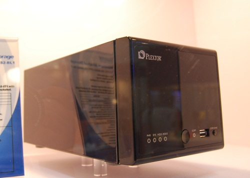 Yup, Plextor has a 2-bay NAS (up to 4TB) that supports DLNA 1.5 and even has a BitTorrent client. It comes with two USB 2.0 ports and is available on Windows, Linux and Mac platforms.