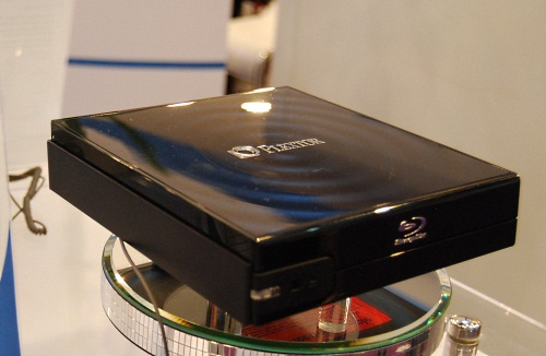 An external top-loading Blu-ray optical drive that reads at 4x max.
