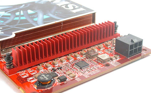 Heatsinks for the power transistors are a common design for many mid to high-end ATI graphics cards.