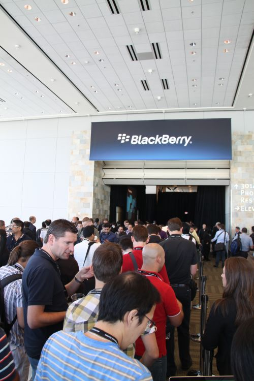 Long queues and tight security amidst the 3rd annual BlackBerry Developers Conference at the Moscone West Convention Centre, San Francisco. But wait, this queue wasn't for the keynote. It's to preview something that's 7-inch...