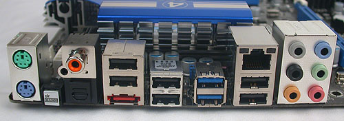 Two of those USB 3.0 are at the back (marked in blue), but besides those, ASRock has included quite a few USB 2.0 ports, eSATA, and both coaxial and optical S/PDIF outputs. The only notable output that's missing is FireWire and arguably, one won't need it nowadays.