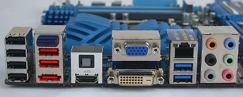 HDMI, DVI and VGA outputs should be the usual display configuration for a Z68 board. Along with those, you'll find up to four USB 2.0 ports, two USB 3.0 ports (in blue) and extras like a Bluetooth antenna and an eSATA port