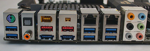 It's all about the USB 3.0 ports on these newer motherboards, with VIA's VLI VL810 USB hubs extending the Renesas (NEC) USB 3.0 controllers. Despite this, Gigabyte still retains the FireWire options. There are also two LAN ports, a rather common configuration for the high-end segment.