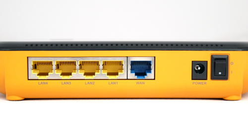 The Gigabit LAN ports are clearly marked out behind the router with the WAN port highlighted in blue. You won't find any USB offering, although EnGenius has added a power switch on the extreme right of the networking device.