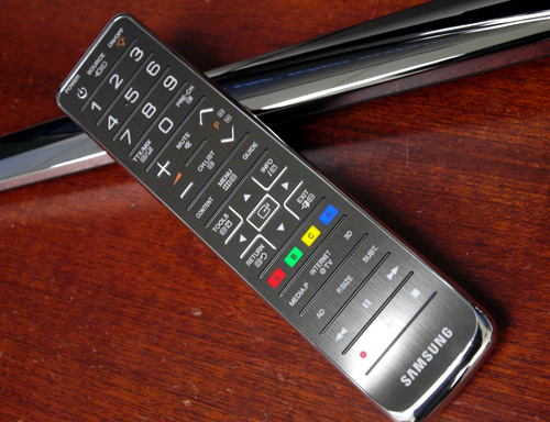 You seldom find a remote which is aesthetically pleasant, but it appears Samsung has outdone themselves with this swanky brushed-metal stick. Best of all, it comes with LED backlights too, just like the TV it was built for.