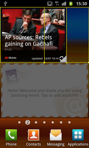 Similar to Motorola's Motoblur UI, you can resize Samsung-specified widgets on the TouchWiz 4.0 UI as well.