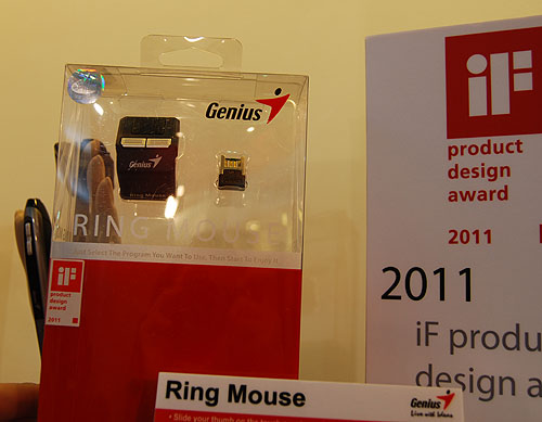 This Ring Mouse from Genius fits on your index finger and you use your thumb on its touch panel to control your mouse cursor. According to Genius, the sensitivity is up to 1000dpi and it uses 2.4GHz wireless technology. Innovative, don't you think so?