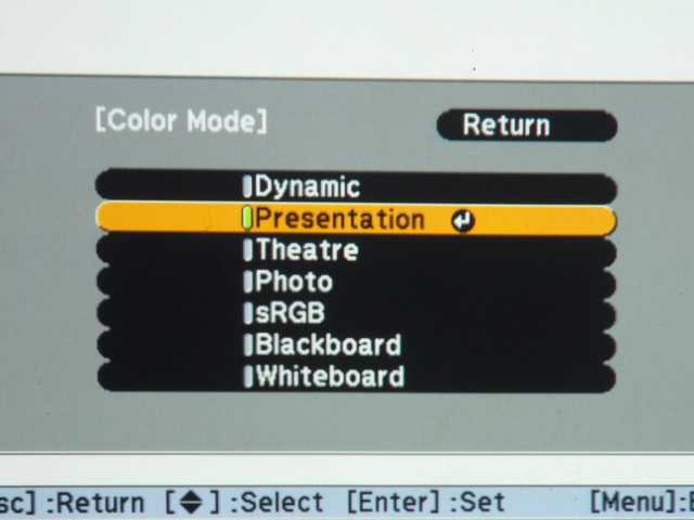 The EB-S10's user interface offers seven color modes that you can choose depending on the type of content projected.