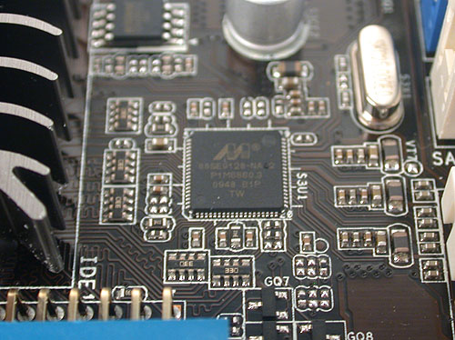A close up of one of the two Marvell controllers onboard responsible for the SATA 6Gbps support.