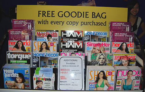 Besides HWM, the whole stable of SPH Magazines are all there, so be it lifestyle, motoring or health, there's a magazine for you. Every copy entitles you to a free goodie bag.