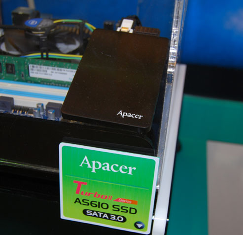 Apacer's top SSD is this Turbo II series AS610 drive which is rated at a sustained read performance of 550MB and a read speed of 520MB/s. It comes in sizes of 120, 240 and 480GB.