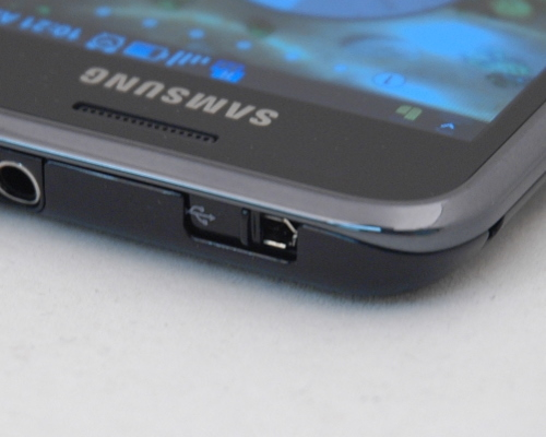 The microUSB port is placed at the top, and protected by an elegant sliding cover.