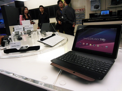 Some compatible accessories for the upcoming Galaxy Tab 10.1 were seen displayed at the Samsung flagship store at Vivocity.