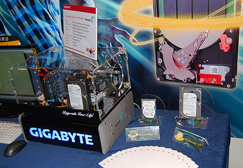 Seagate's Momentus XT solid state hybrid drive was the main focus at its booth.