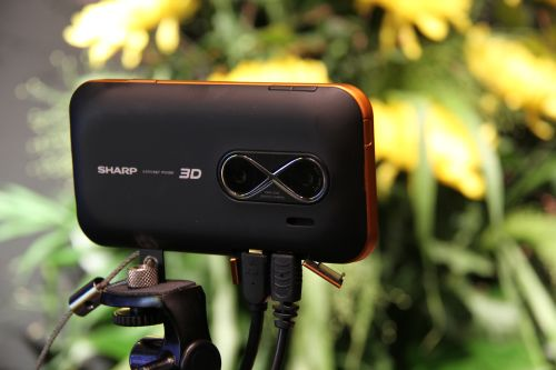 """Sharp showcased a concept prototype of a device that can capture 3D images on a portable device here. The screen module is a 3.8"""" with a 400 x RGB x 480 dot resolution in 3D and doubles to an 800 x RGB x 480 dot resolution in 2D. When viewed, users do not need 3D glasses but should stand about 30 cm away from the screen for optimal viewing. Besides the 3.8"""", another concept was a 10.6"""" version with a 640 x RGB x 768 3D resolution (50 cm viewing distance)."""