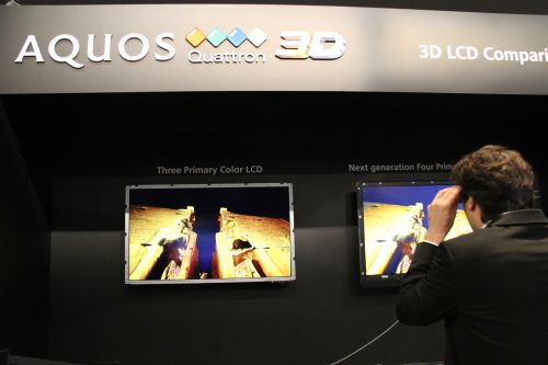 Sharp demonstrated its Quattron 3D TVs that utilizes a fourth yellow color beyond the standard three primary RGB colors.